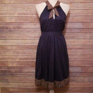 Deletta Bow & Print Dress - Size Medium